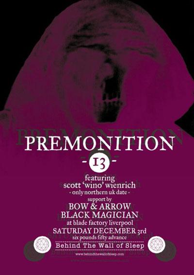 Premonition13 / Bow & Arrow / Black Magacian - Liverpool 3/12/2011 flyer