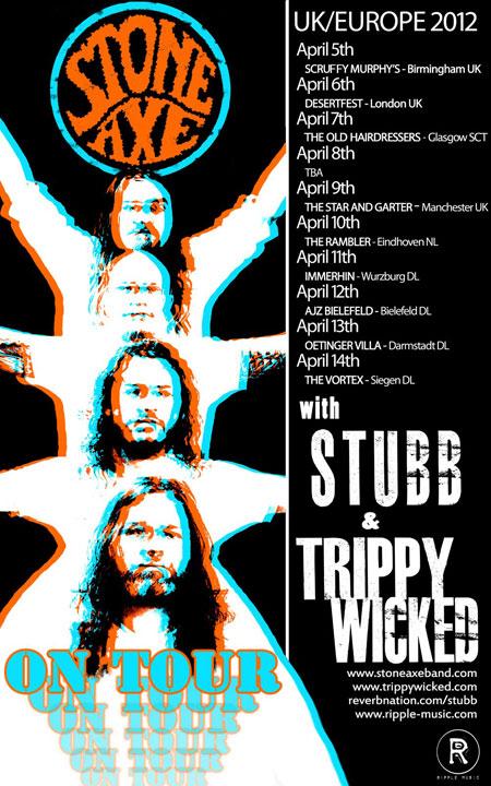 Stone Axe / Stubb / Trippy Wicked - Euro Tour 2012 Flyer