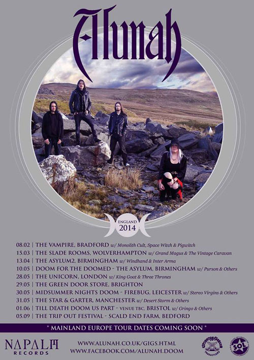 Alunah - UK Gig Dates 2014