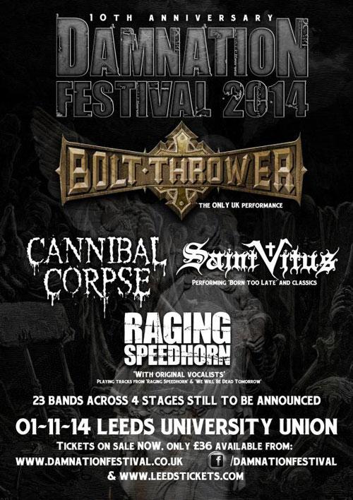 Damnation Festival 2014 w/ Bolt Thrower, Cannibal Corpse, Saint Vitus, Raging Speedhorn
