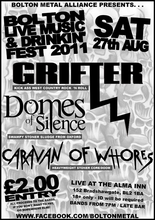 Bolton Metal Alliance presents Grifter, Domes of Silence & Caravan of Whores