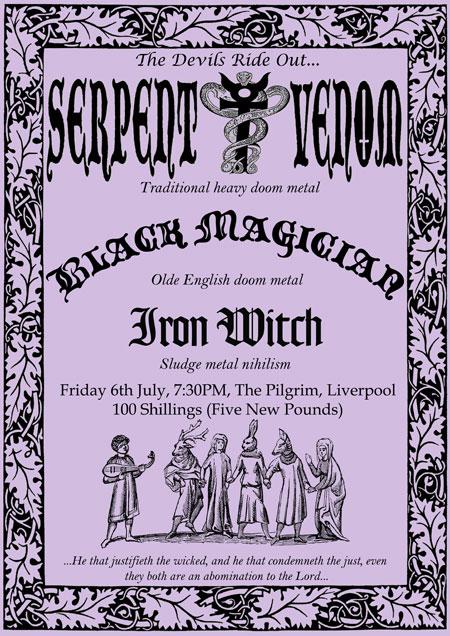 Serpent Venom / Black Magician / Iron Witch - The Pilgrim Pub, Liverpool 06/07/2012