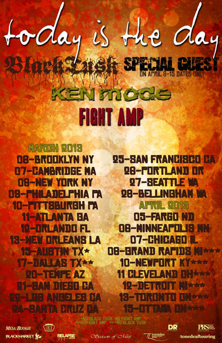 Today Is The Day - US Tour 2013 Flyer