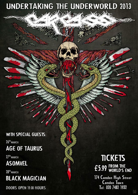 Carcass - The Underworld 2013 Flyer