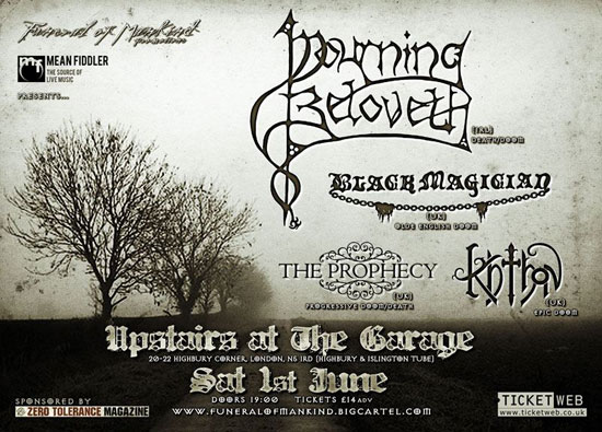 Mourning Beloveth - The Garage, London Flyer