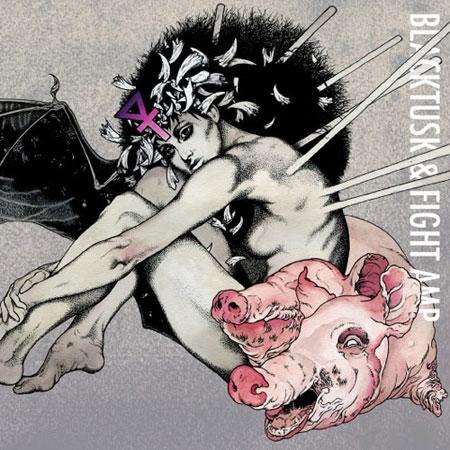 """Black Tusk / Fight Amp - Split 7"""" Artwork"""
