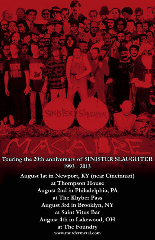 Macabre 'Sinister Slaughter' 20th Anniversary Tour